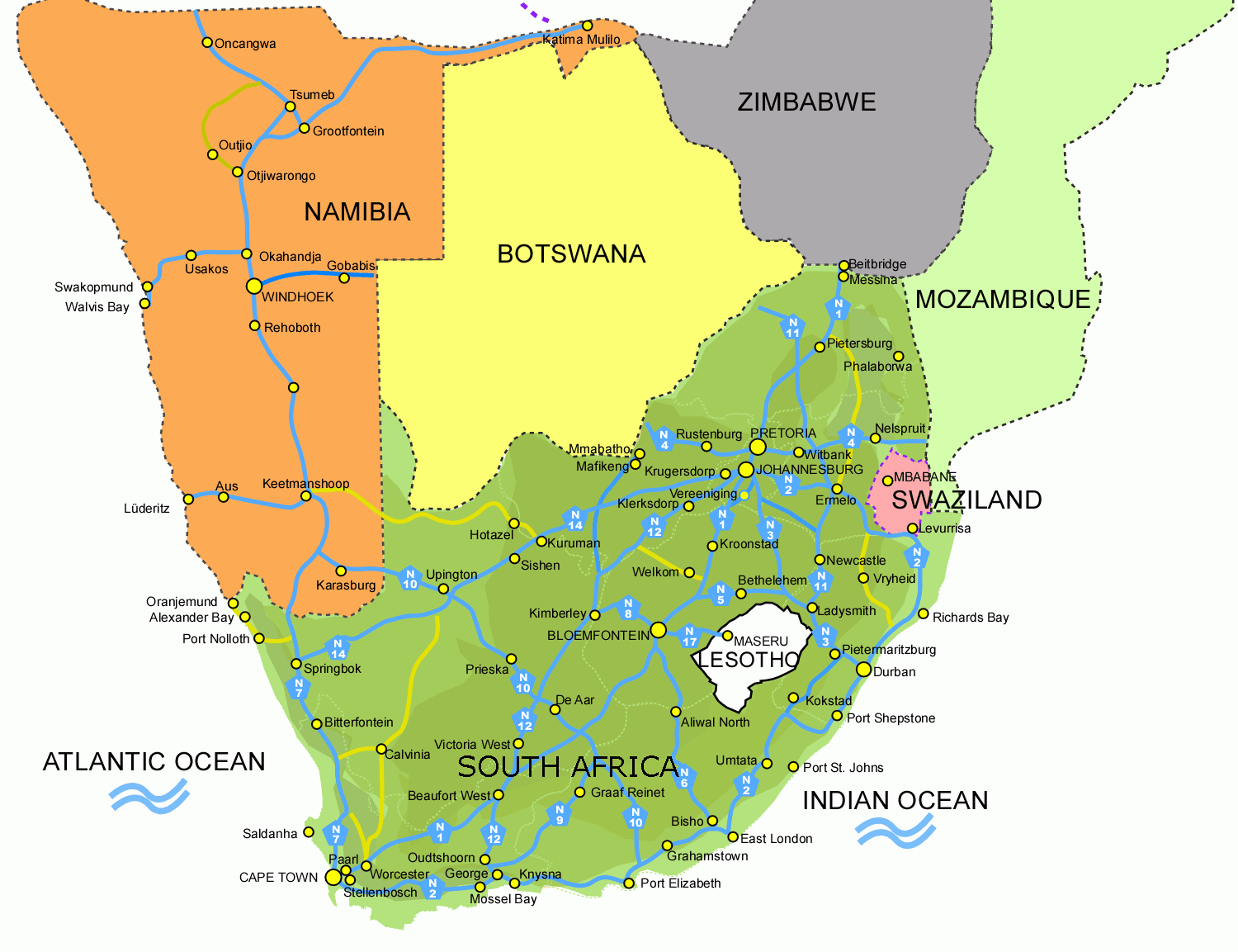 Lesotho Maps South Africa South Africa And Lesotho